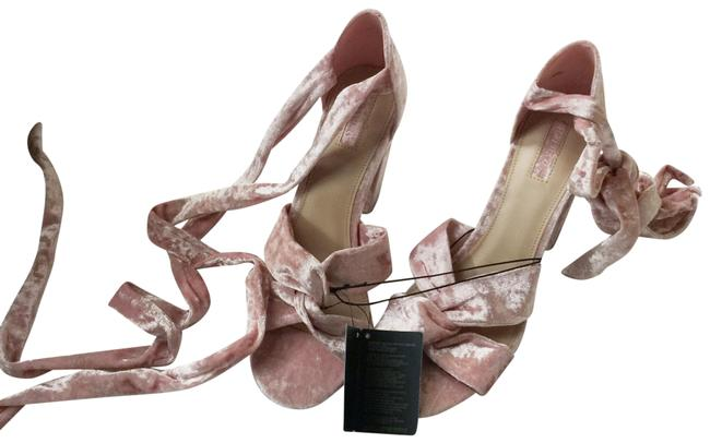 Item - Pink Blush Baby Velvet Wrap Heels Platforms Size US 10 Regular (M, B)