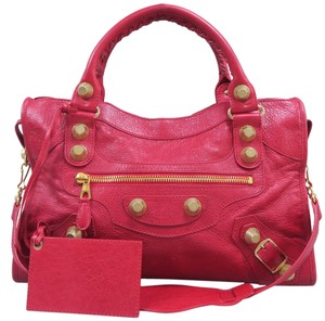 Balenciaga Motocross Giant 12 Calfskin Satchel in Red