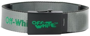 Off-White™ Off White Gray Light Gray Nylon Fabric Industrial Belt Italy SMALL