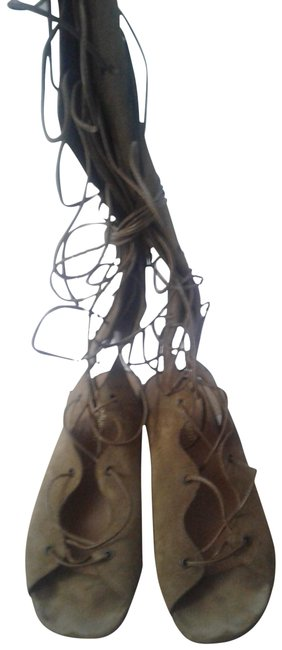 Item - Tan Ysl Suede Babies Gladiator Lace Up Tall Sandals Size EU 37.5 (Approx. US 7.5) Regular (M, B)
