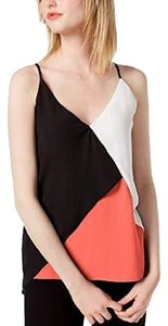 Bar III Colorblock Spring Summer Top Black, White and Orange