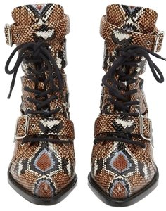 Chloé Snakeskin Lace Up Pointed Toe Cut Out Block Heel Multi Boots