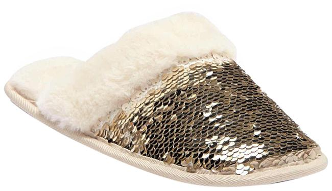 Item - Gold Natural Ivory Lined Sequin Slip On Slippers Flats Size US 10 Regular (M, B)