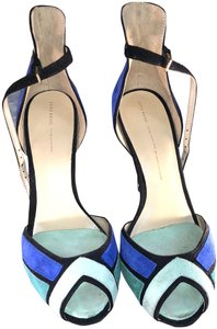 Zara Classy Suede Blue and Green Sandals