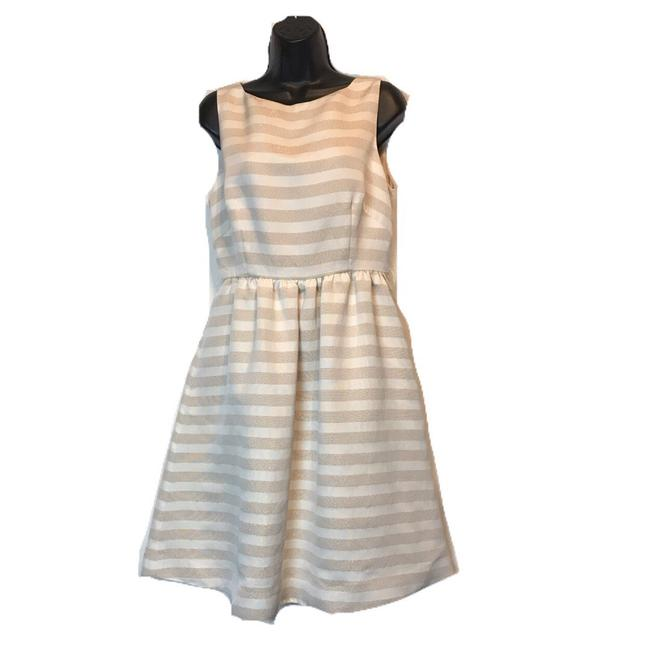 Lilly Pulitzer White and Gold Eryn Short Work/Office Dress Size 8 (M) Lilly Pulitzer White and Gold Eryn Short Work/Office Dress Size 8 (M) Image 1