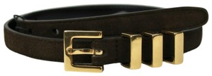 Saint Laurent Unisex Brown Suede Leather CLASSIC 3 PASSANTS Belt 85/34 314629 2551