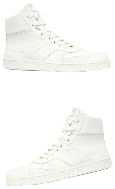 Item - White 3t6414 Leather Lettering Logo Zip Lace Up Hi Top It Sneakers Size EU 40 (Approx. US 10) Regular (M, B)