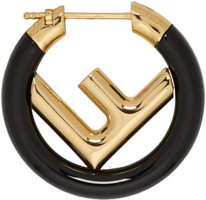 Fendi Gold-tone Fendi Zucca F is Fendi logo hoop earring