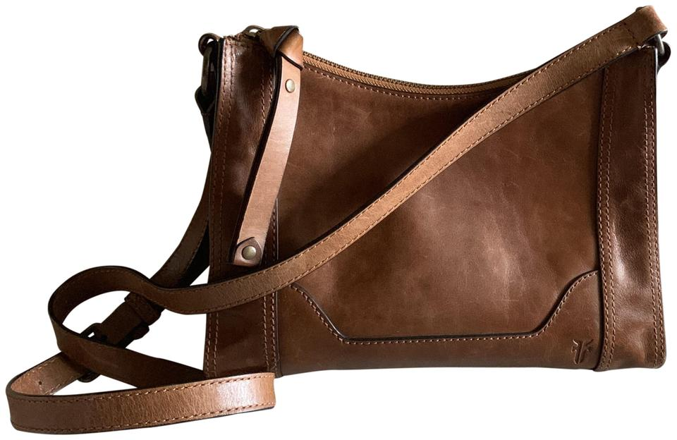 special price for the sale of shoes purchase original Frye Melissa Zip Cognac Leather Cross Body Bag 25% off retail