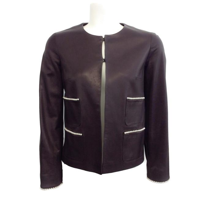 Item - Brown Leather Pearl Embellished Jacket Size 0 (XS)