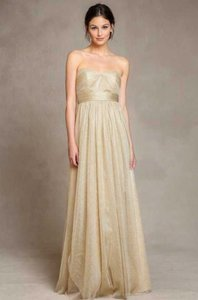 Jenny Yoo Metallic Gold Tulle Annabelle Formal Bridesmaid/Mob Dress Size 6 (S)