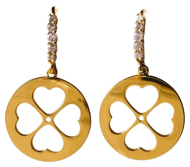 Kate Spade Gold Clover Heart Cut Out Drop Pave Earrings Kate Spade Gold Clover Heart Cut Out Drop Pave Earrings Image 1
