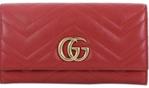 Gucci Marmont Gg Continental Wallet Matelasse Leather Clutch