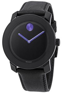 Movado Bold Purple Accents Unisex Leather Watch