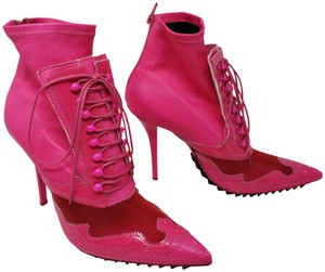 Givenchy Studded Mesh Patent Leather Pointed Toe Spike Pink Boots