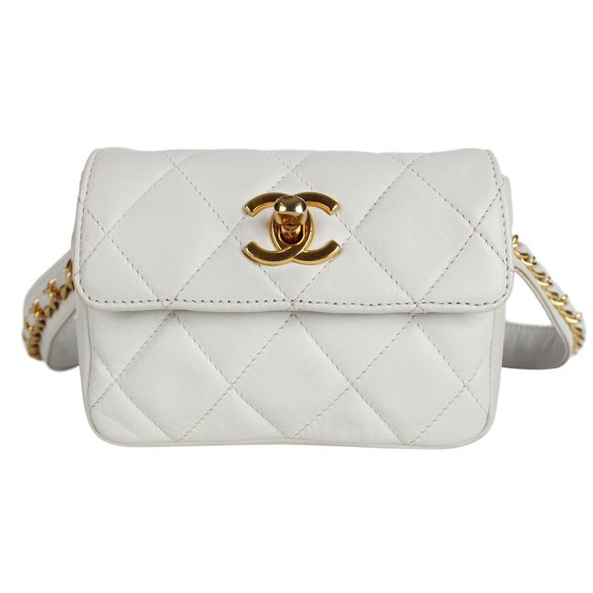 Item - Classic Flap Waist Fanny Pack 7486 White Leather Weekend/Travel Bag