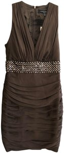 Carmen Marc Valvo Silk Ruched Little Party Beaded Dress