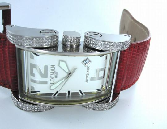LOCMAN ITALY LOCMAN ITALY LATIN LOVER DIAMOND WATCH RED LEATHER STEEL CASE WITH BOX + PAPERS