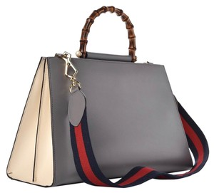 Gucci Nymphaea Bamboo Web Stripe Satchel in Gray