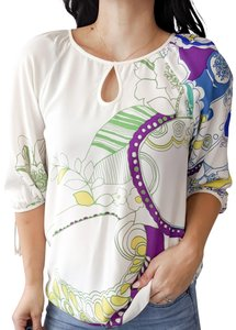 Tibi Abstract Mod Silk Keyhole Career Top White
