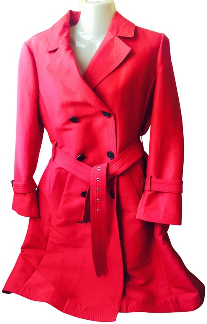 BCBGMAXAZRIA Poppy Red Trench Coat Size 8 (M) BCBGMAXAZRIA Poppy Red Trench Coat Size 8 (M) Image 1