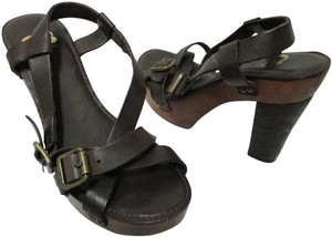 Gianni Bini Leather Sandals Heels brown Platforms