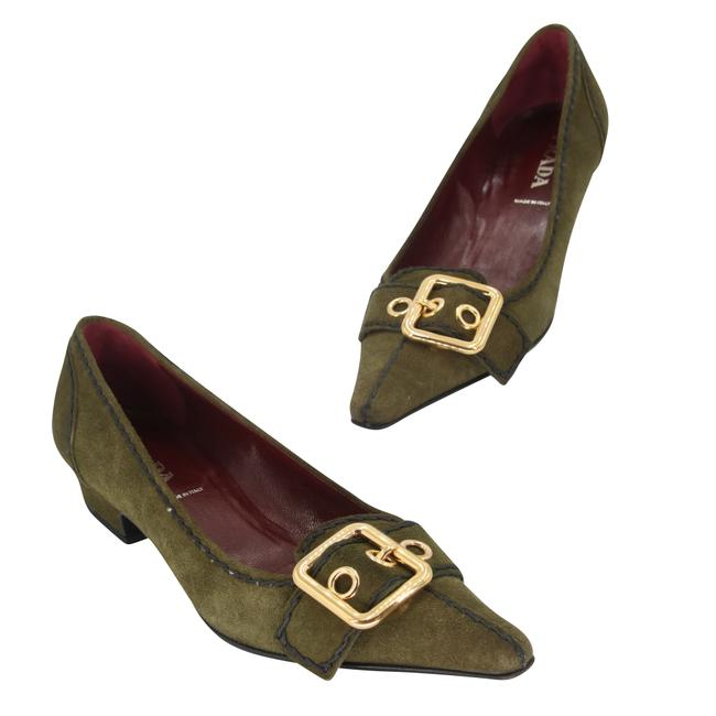 Item - Green Gold-tone Hardware Suede Buckle Pointed Toe Low Heels 35.5 Pumps Size US 5.5 Regular (M, B)