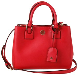 Tory Burch Leather Robinson Square Tote in Red Pink