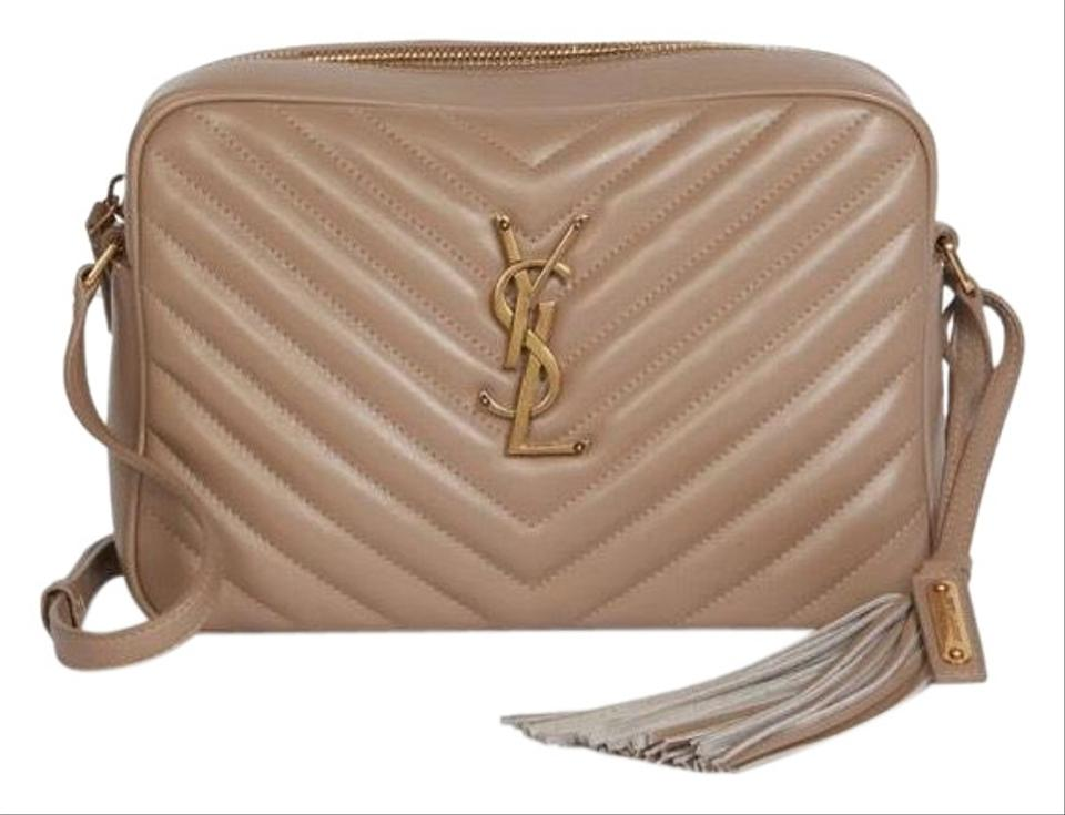 Saint Laurent Monogram Lou Camera Ysl Quilted Chevron Nude Dusty Grey  Calfskin Leather Cross Body Bag