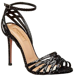 Aquazzura Heel Disco Sequin Strappy Black Multi Sandals