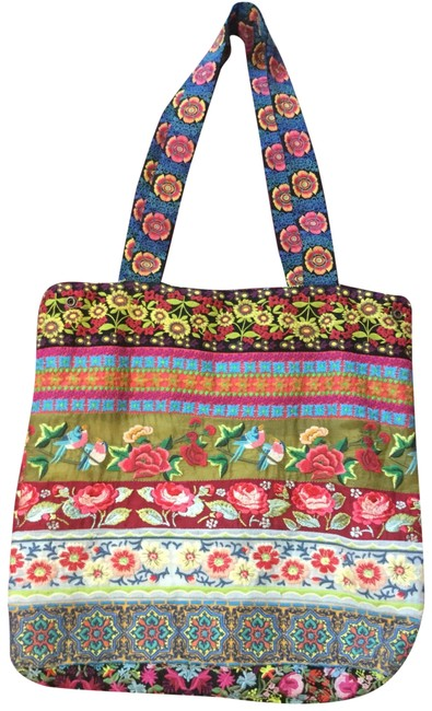 Item - Multi-floral Embroidered with Side Snaps Multi-colored Cotton Blend Hobo Bag