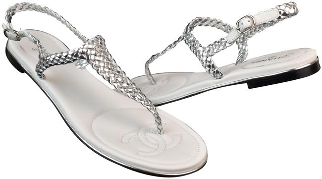 Item - Silver Braided Leather Cc Logo Thong Buckle Flat Sandals Size EU 40.5 (Approx. US 10.5) Regular (M, B)