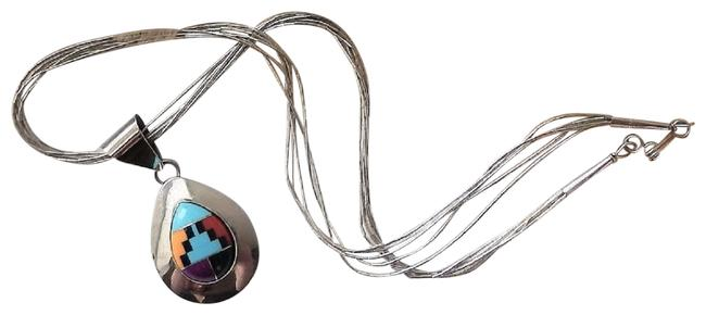 Item - Multicolor Signed Strand Sterling Silver Inlaid Gemstone Necklace