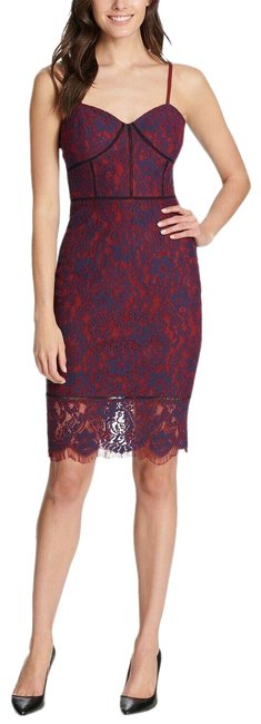 Item - Purple Women's Red Blue Sweetheart Corsetsheer Lace Bodycon A C Mid-length Cocktail Dress Size 4 (S)