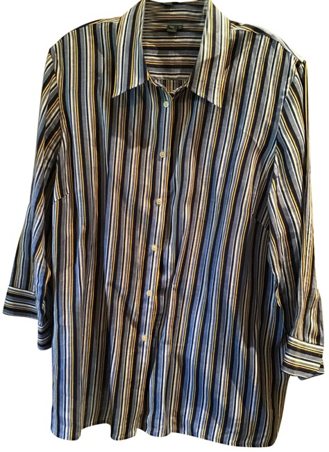 Item - Blue Gold White Stripe Linen Big Shirt Blouse Size 24 (Plus 2x)