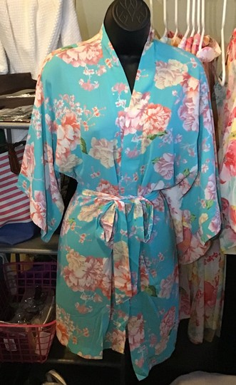 Coveted Clothing Turquoise Flowered Robe Image 1