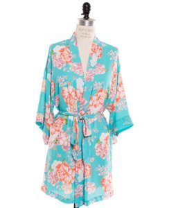 Coveted Clothing Turquoise Flowered Robe