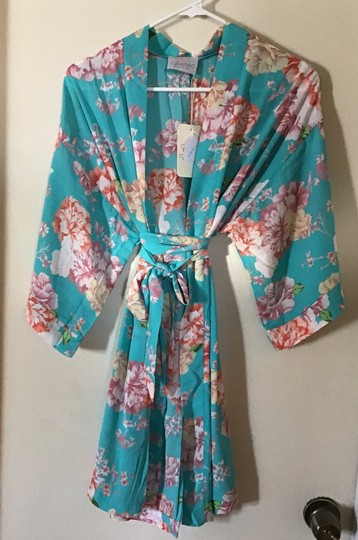 Coveted Clothing Turquoise Flowered Robe Image 2