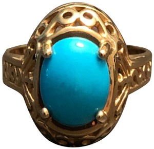 CCO 14KT Yellow Gold Sleeping Beauty Turquoise Filigree Design Ring