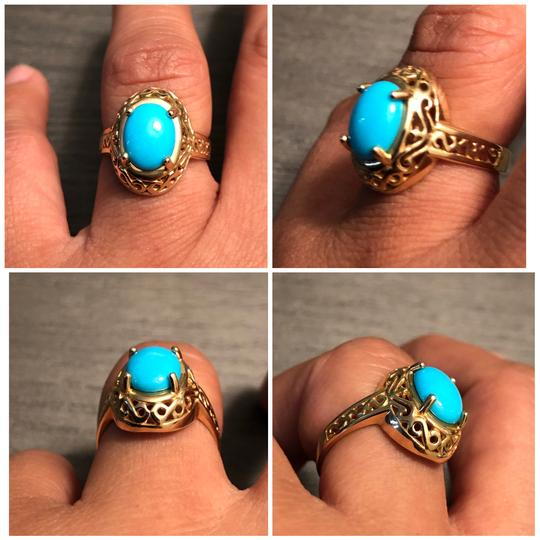 CCO 14KT Yellow Gold Sleeping Beauty Turquoise Filigree Design Ring Image 1