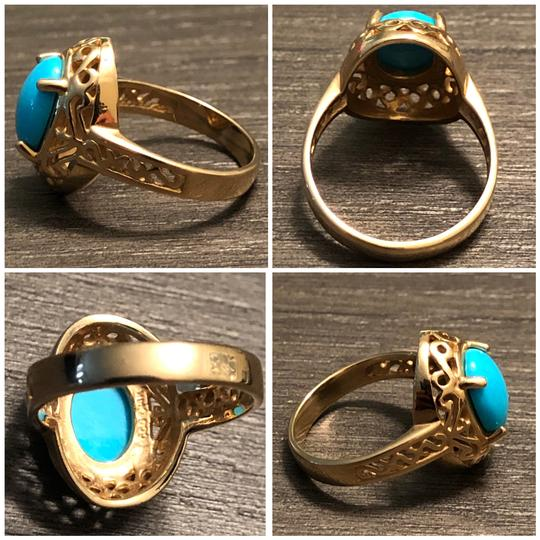CCO 14KT Yellow Gold Sleeping Beauty Turquoise Filigree Design Ring Image 3