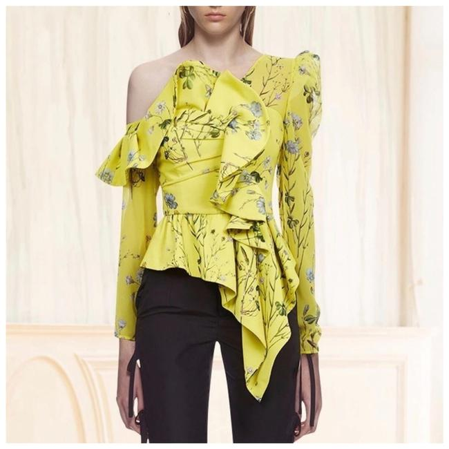 Preload https://img-static.tradesy.com/item/25599967/yellow-the-lilas-asymmetrical-floral-blouse-size-4-s-0-0-650-650.jpg