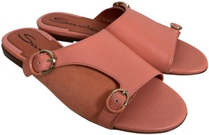 Santoni Leather Suede Open Toe Buckle Pink Sandals