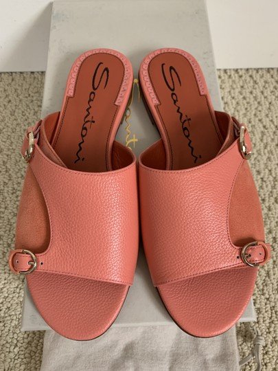 Santoni Leather Suede Open Toe Buckle Pink Sandals Image 1