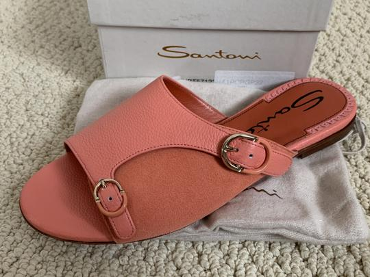 Santoni Leather Suede Open Toe Buckle Pink Sandals Image 10