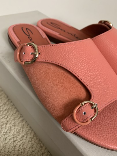 Santoni Leather Suede Open Toe Buckle Pink Sandals Image 11