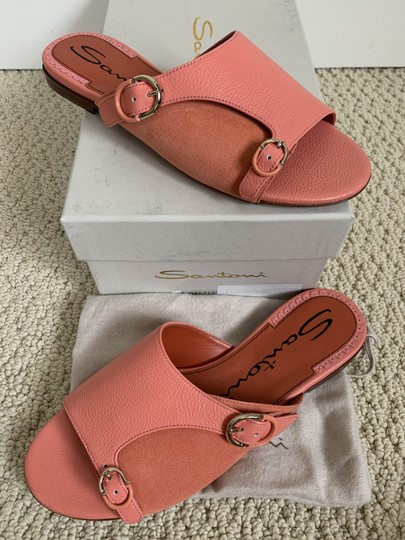 Santoni Leather Suede Open Toe Buckle Pink Sandals Image 2