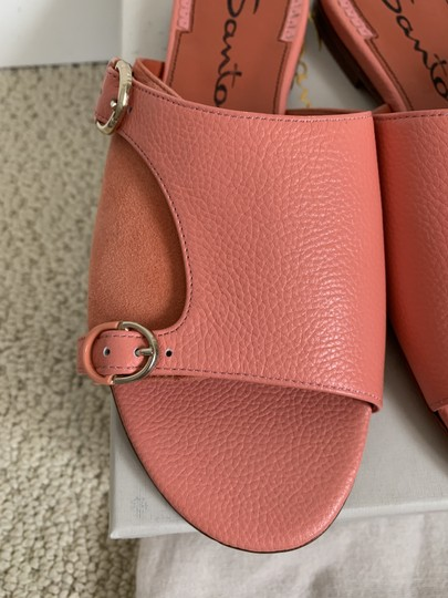 Santoni Leather Suede Open Toe Buckle Pink Sandals Image 3