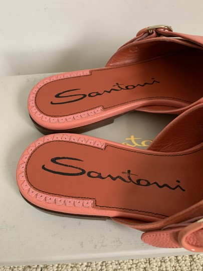 Santoni Leather Suede Open Toe Buckle Pink Sandals Image 4
