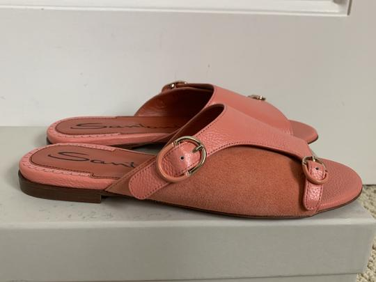 Santoni Leather Suede Open Toe Buckle Pink Sandals Image 5